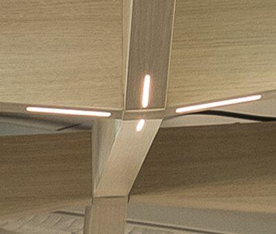 Tapered MAXI BEAM ceiling beams with LED integrated lighting at ANZ Raranga Auckland