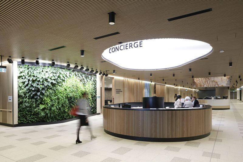 The concierge and waiting area in the Northern Beaches Hospital